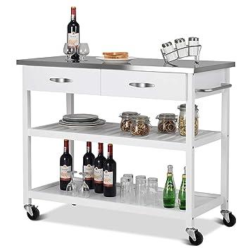 Amazon.com: Giantex - Carro de cocina con ruedas y 2 cajones ...