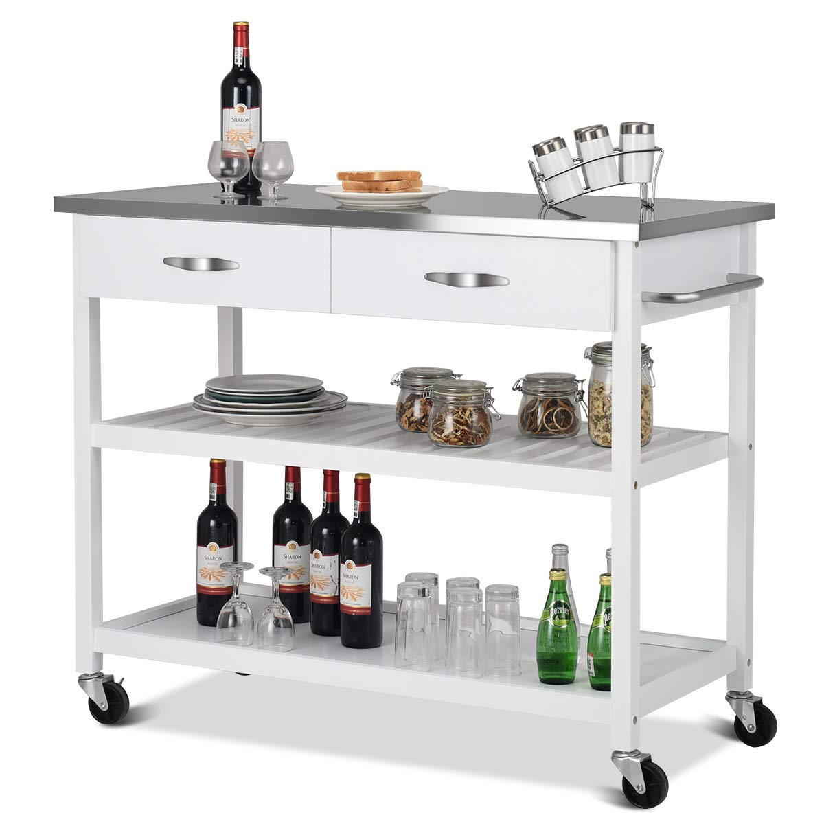 Giantex Kitchen Trolley Cart Rolling Island Cart Serving Cart Large Storage with Stainless Steel Countertop, Lockable Wheels, 2 Drawers and Shelf Utility Cart for Home and Restaurant, (White)