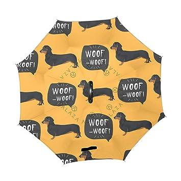 XiangHeFu - Paraguas invertido de Doble Capa, diseño de Perro Salchicha con protección contra el