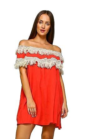 bf86904ff46 Velzera Women's Off The Shoulder Fringe Tunic Mini Dress Boho Chic Reg & Plus  Size (