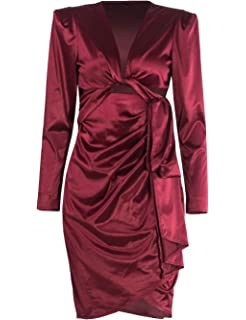 ed1f1606173 Women Sexy Satin Long Sleeve Deep V Neck Lace Up Bodycon Evening Party Dress