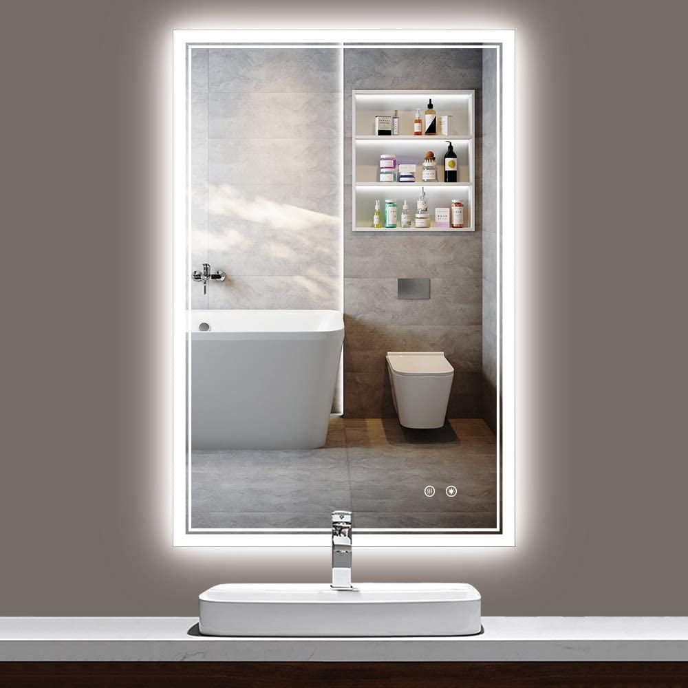 TokeShimi 36 x 24 Inch Bathroom LED Makeup Mirror Anti-Fog Dimmable Wall Mounted Vanity Mirror with Memory Function.