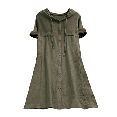 d05e87a8f56 OrchidAmor Womens Button Plus Size Linen Cotton Tops Tee Shirt Hooded  Pocket Loose Comfy Solid Short