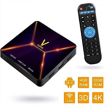 Android TV Box, Super V Android 9.0 TV Box 4GB RAM/32GB ROM RK3318 Quad-Core Soporte 2.4Ghz WiFi BT 4.0 4K HDMI DLNA 3D Smart TV Box: Amazon.es: Electrónica