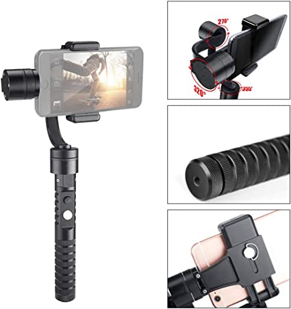 3-axis Anti-Shake 360/° no Dead Angle Portable Collapsible Smart Phone stabilizer XUEME Handheld Gimbal Stabilizer Black