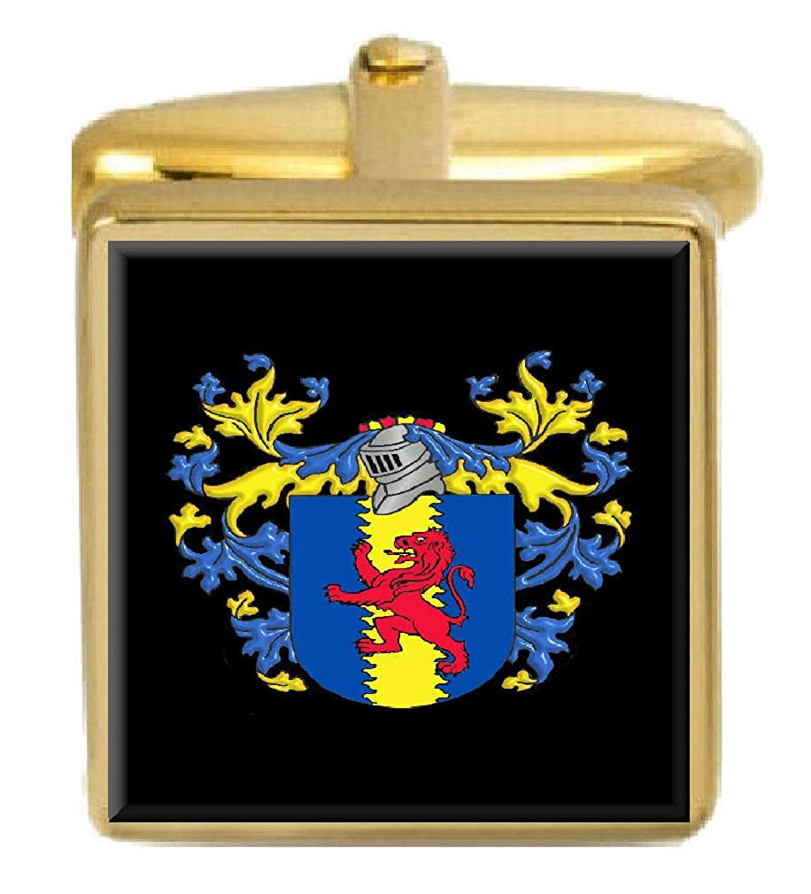 Select Gifts Colman England Family Crest Surname Coat Of Arms Gold Cufflinks Engraved Box