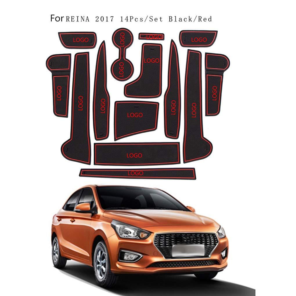 AUWU 14pcs/Set Dustproof Car Gate Slot Mat Decoration Non-Slip Door Grrove Pad Replacement for Hyundai Verna 2017
