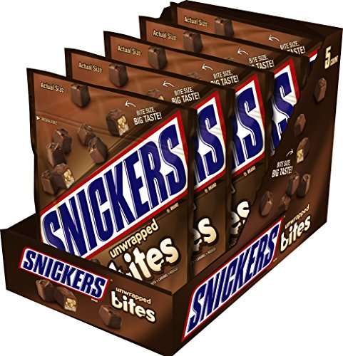 SNICKERS Bites Size Chocolate Candy Bars 8-Ounce Pouch (Pack of 5)