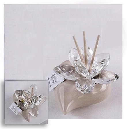 Bomboniere Di Cristallo Per Matrimonio.Dlm29570 Profumatore Beige Cuore In Ceramica Con Fiore In