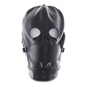 Amazon com: YiFeng Leather GIMP Full Mask Hood Open Eyes w