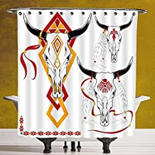 Polyester Shower Curtain 3.0 by SCOCICI [ Tattoo Decor,Bulls Head with Feather of Bird as Accessory with Tribal Designes,Red Yellow and White ] Digital Printing Polyester Antique Theme with Adjustable