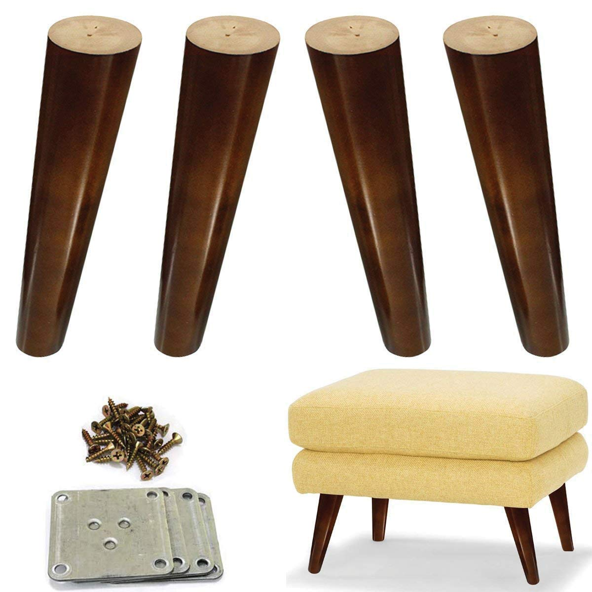 Wood Sofa Legs 8 Inch Pack Of 4 Walnut Finished Furniture Feet