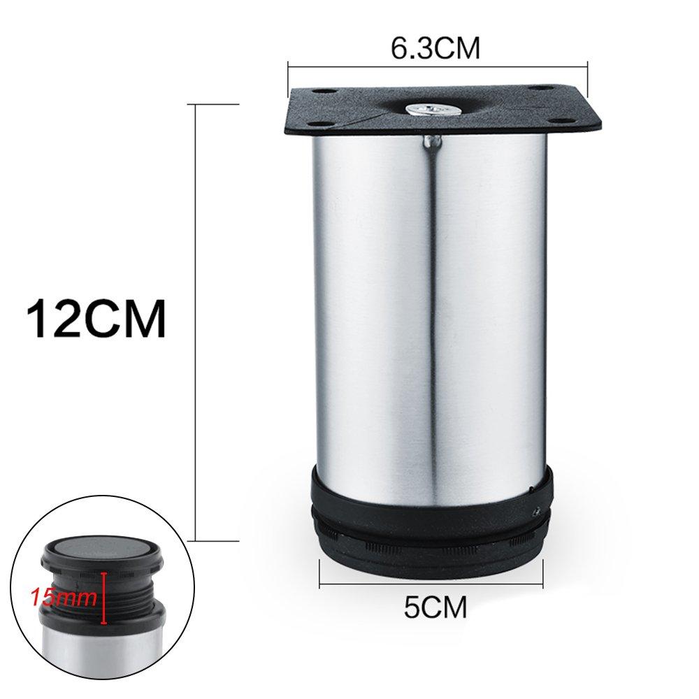 Lifemaison 4pcs Pied Ajustable pour Meuble en Acier INOX Hauteur R/églable pour Armoire Lit Canap/é