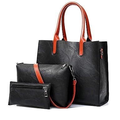 ecdc38e9d877 Amazon.com  3 Sets Women Handbags Female Pu Leather Soft Tote Bags Fashion  Shoulder Crossbody Bag Purse  Clothing