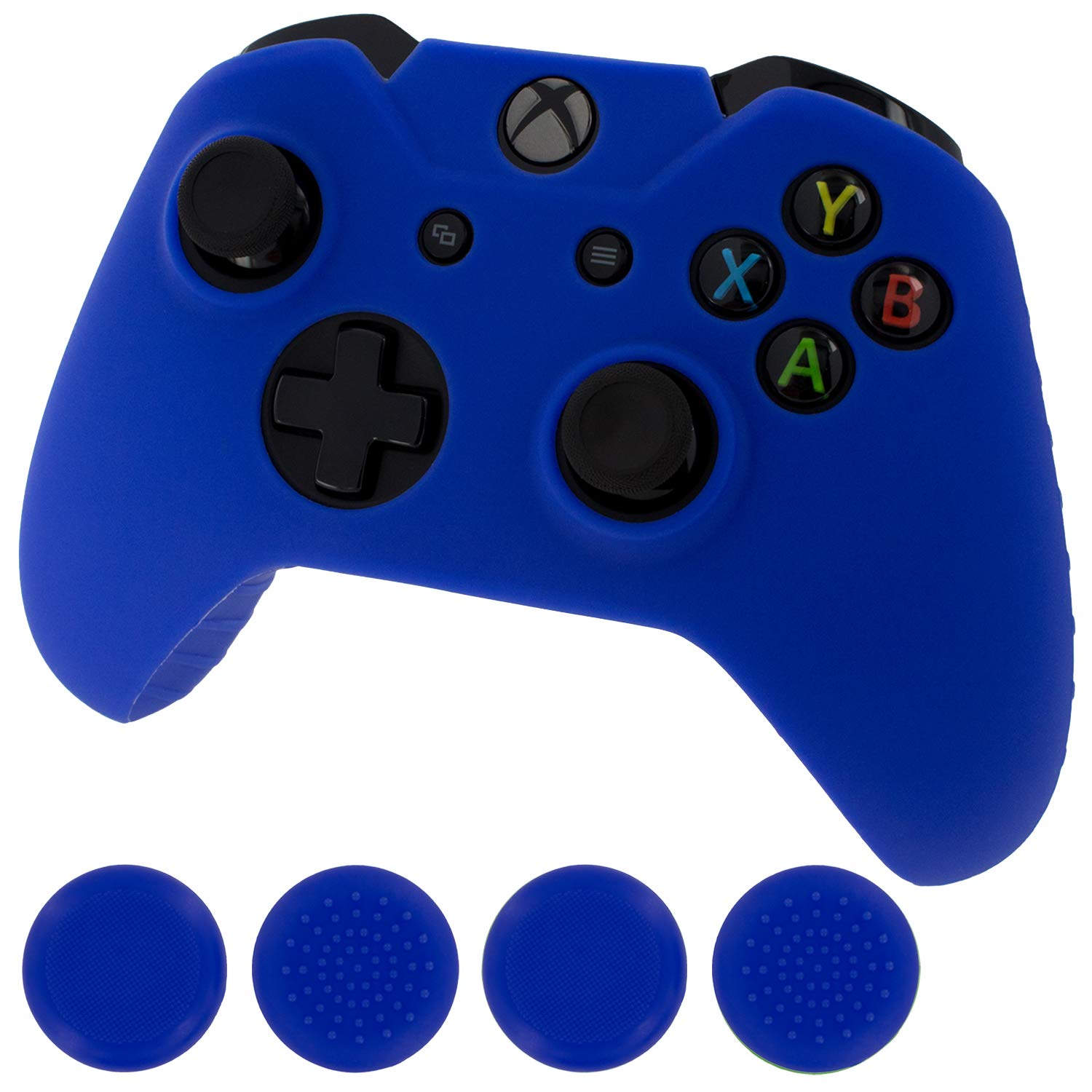 Assecure blue protect & grip pack soft silicone skin grip protective cover rubber bumper case with ribbed handle grip & TPU analogue thumb grip stick caps for Microsoft Xbox One controller by Assecure