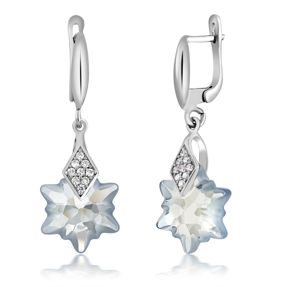 db636e5e8 Amazon.com: Blue Shade Snowflake Edelweiss Flower Earrings Made with Swarovski  Crystals: Jewelry