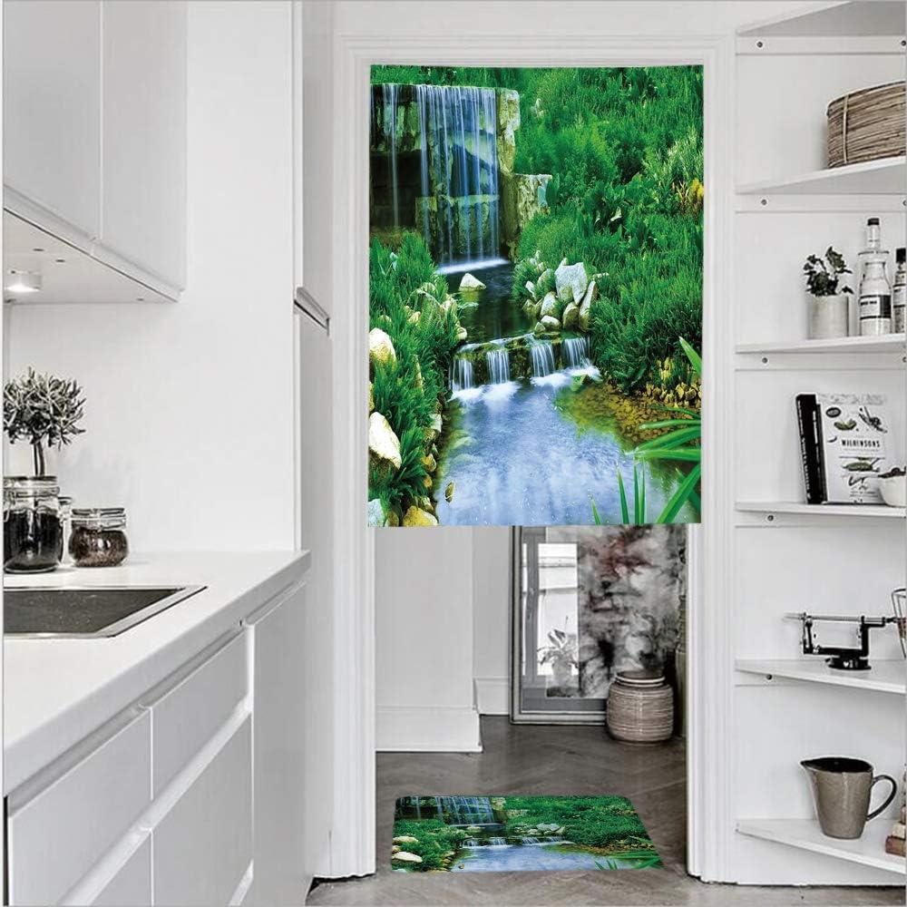 Cortinas de 1 panel con textura de lino con estampado 3D y 1 felpudo de cocina, color verde musgo bosque con dibujos del mundo secreto de fantasía 27.6 pulgadas de ancho por