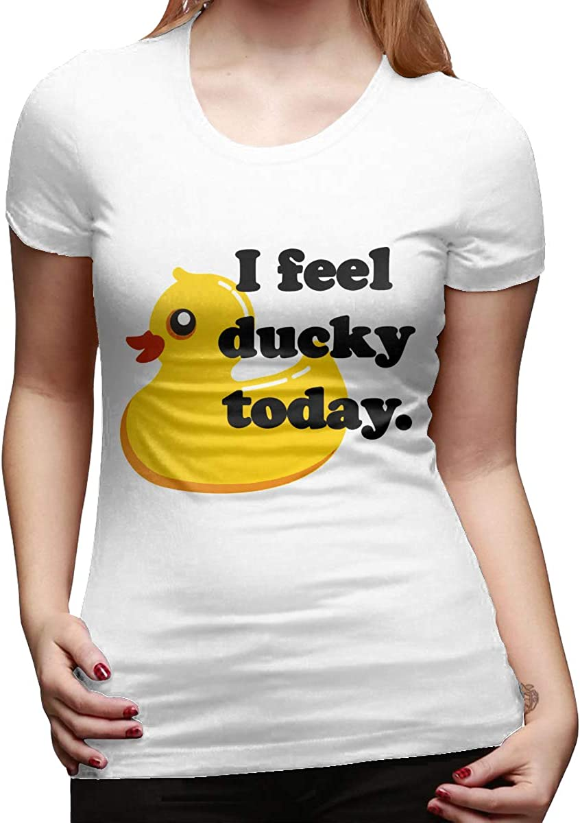 I Feel Ducky Today Womens Basic Short Sleeve Top Crew Neck T-Shirts