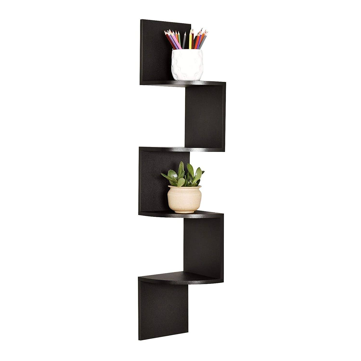 WELLAND Zig Zag 4 Tiers Corner Wall Shelf, Black