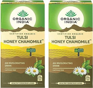 Organic India Pack de 2 Tulsi Miel Manzanilla 18 bolsitas de té ...