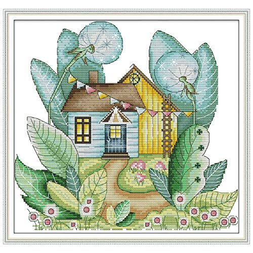 (Dollhouse - Summer House Diy Handmade Needlework Counted 14ct Printed Cross Stitch Embroidery Kit Set Home - Tools Glasses Rope Mini Roof Girls Package Family Outdoor Furniture Machine Sti)