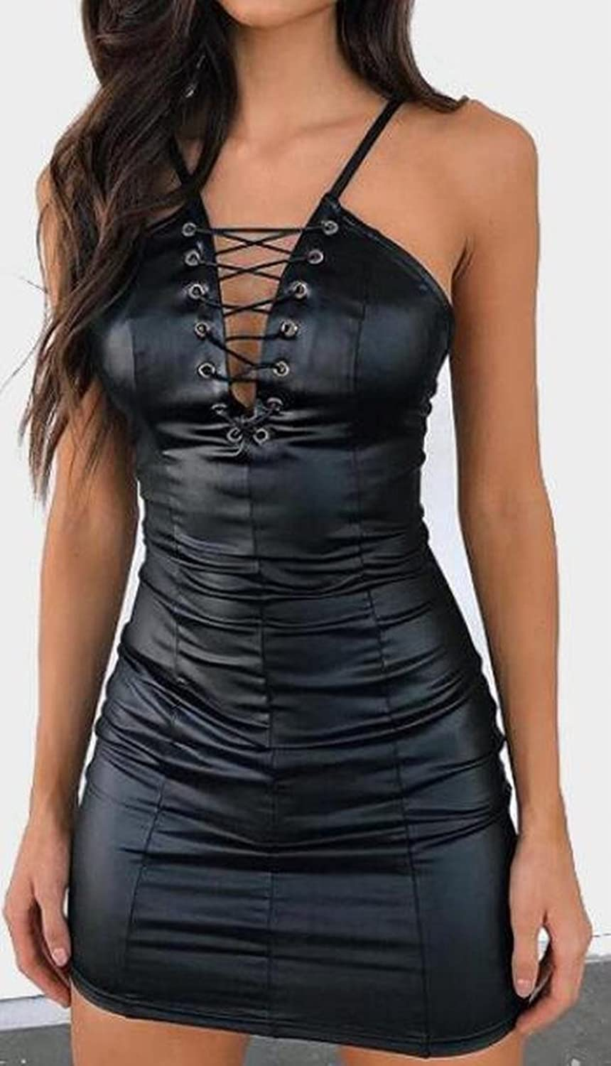 Binn Womens Faux Leather V-Neck Bandage Bodycone Mini Dress