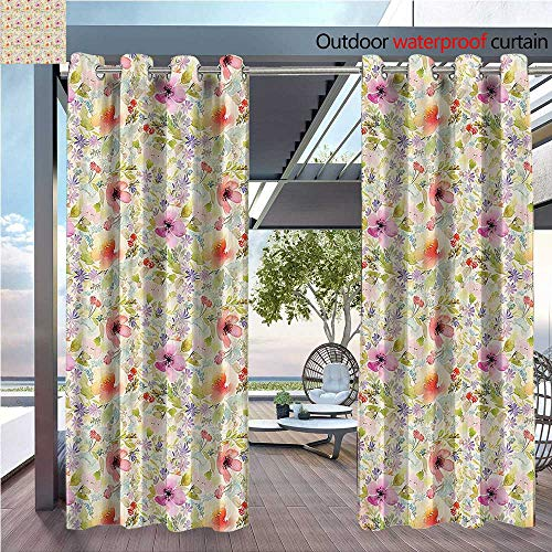DESPKON Active Printing Fabric Polyester Material Nostalgic Pastel Soft Colored Different Type Cute Floral Spring Hope Leaf for Outdoor Wedding W96 x L108 INCH