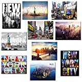 fridge magnet new york city - 10 set New York NYC Souvenir Large Photo Picture Fridge Magnets 2.5 x 3.5 inch - Pack of 10