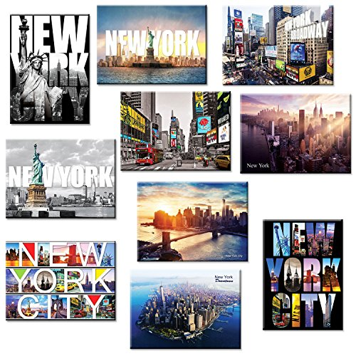 10 set New York NYC Souvenir Large Photo Picture Fridge Magnets 2.5 x 3.5 inch - Pack of 10 (Magnet Refrigerator York New)