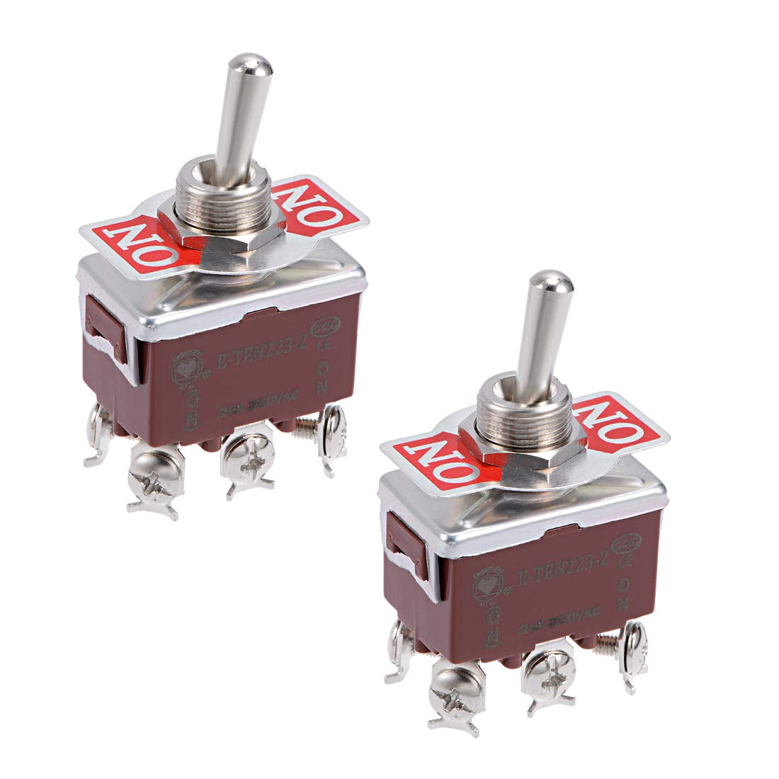 uxcell DPDT Momentary Rocker Toggle Switch Heavy-Duty 20A 250V 6P ON//ON Metal Bat 5pcs
