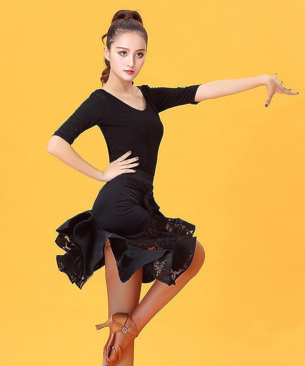 NAKOKOU Flamengo Ballroom Costume Black O-Neck Backless Cross Strap Modal Latin Dance Top