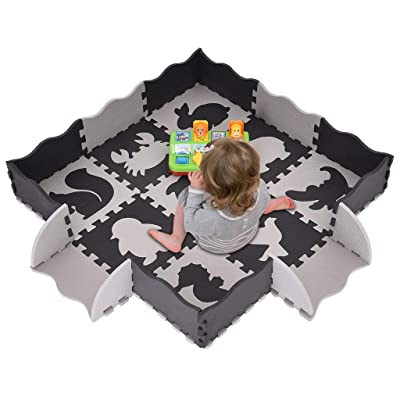 Shipped from The USA,25 Pieces of Fenced 9 Different Animal Style Baby Play Mats, Thick (0.4 Inches): Clothing