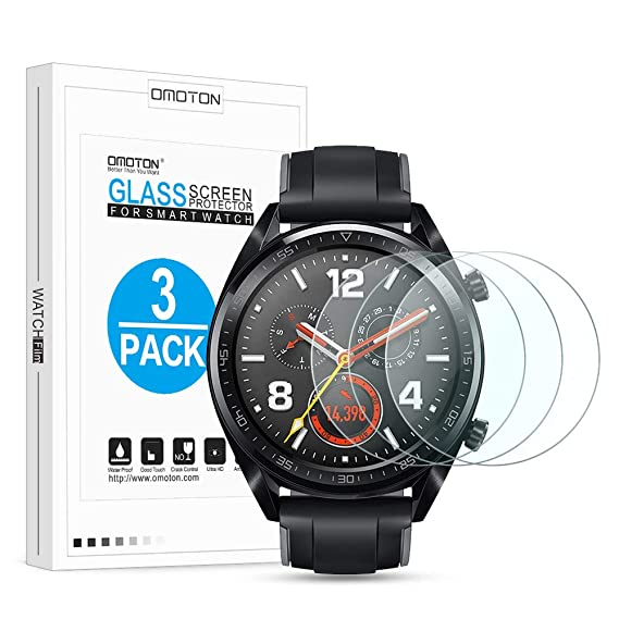 OMOTON 9H Hardness HD Tempered Glass Screen Protector for Huawei Watch GT Smartwatch [3-Pack]