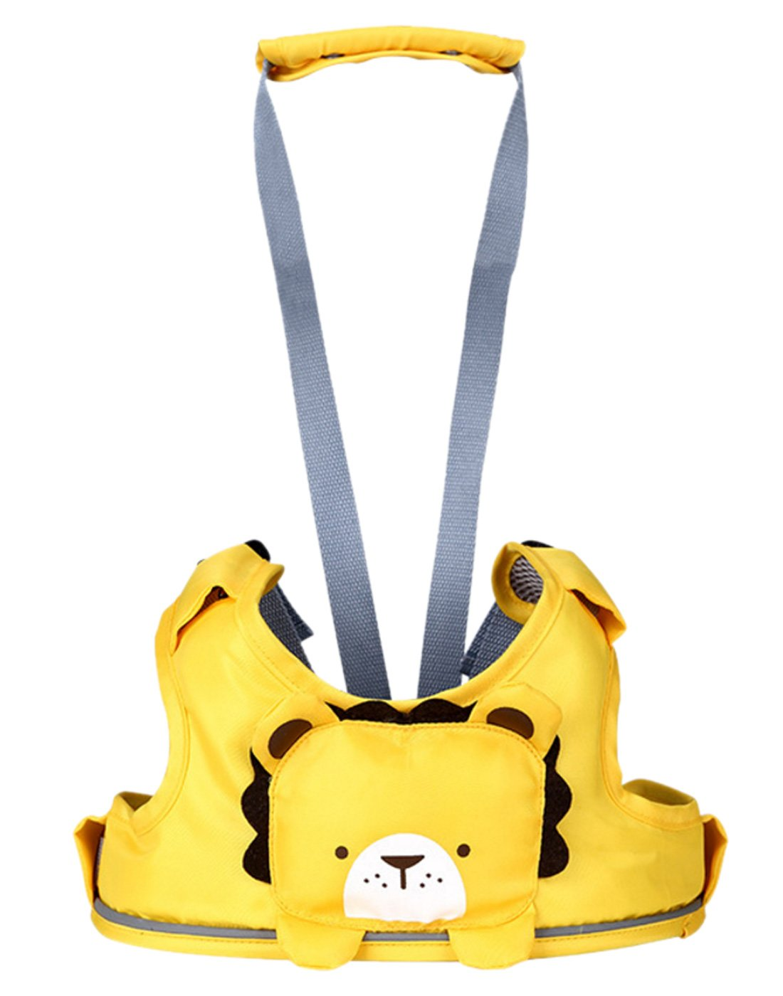 Happy Cherry 3-in-1 Toddler Walking Assitant Harness + Portable High Chair + Cart Safety Strap, Cartoon Animal Learning Walkers, Lightweight & Washable, Yellow