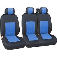 flexzon Calidad Azul, Negro y asiento de tela fundas para Volkswagen Transporter T41992–2003T5Multivan Caravelle Renault Master Trafic Citroen Dispatch Relay Fiat Scudo Ducato T28/30Peugeot Expert Boxer Ford