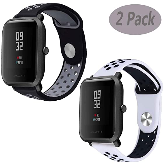 Compatible Xiaomi Amazfit Bip Band,LitoDream Silicone Soft Band Wristband Replacement Straps for Xiaomi Huami Amazfit Bip Younth SmartWatch (2 Pack ...