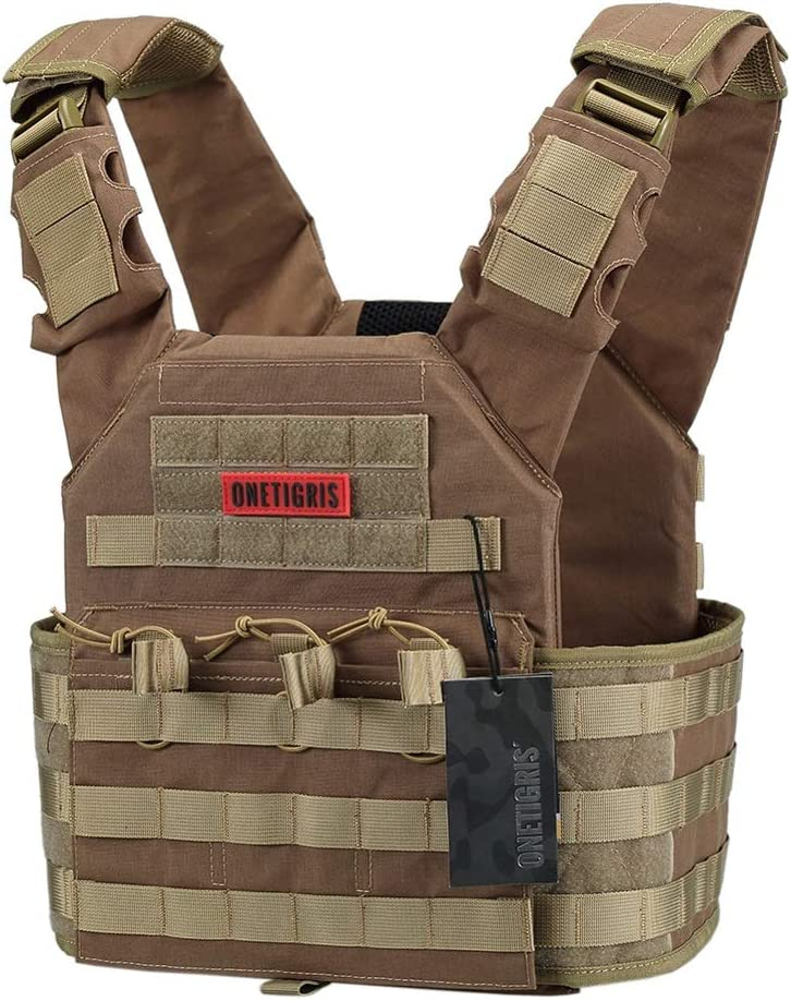 OneTigris Multicam Tactical Vest in Coyote Brown color with plenty of molle webbings for attachment.