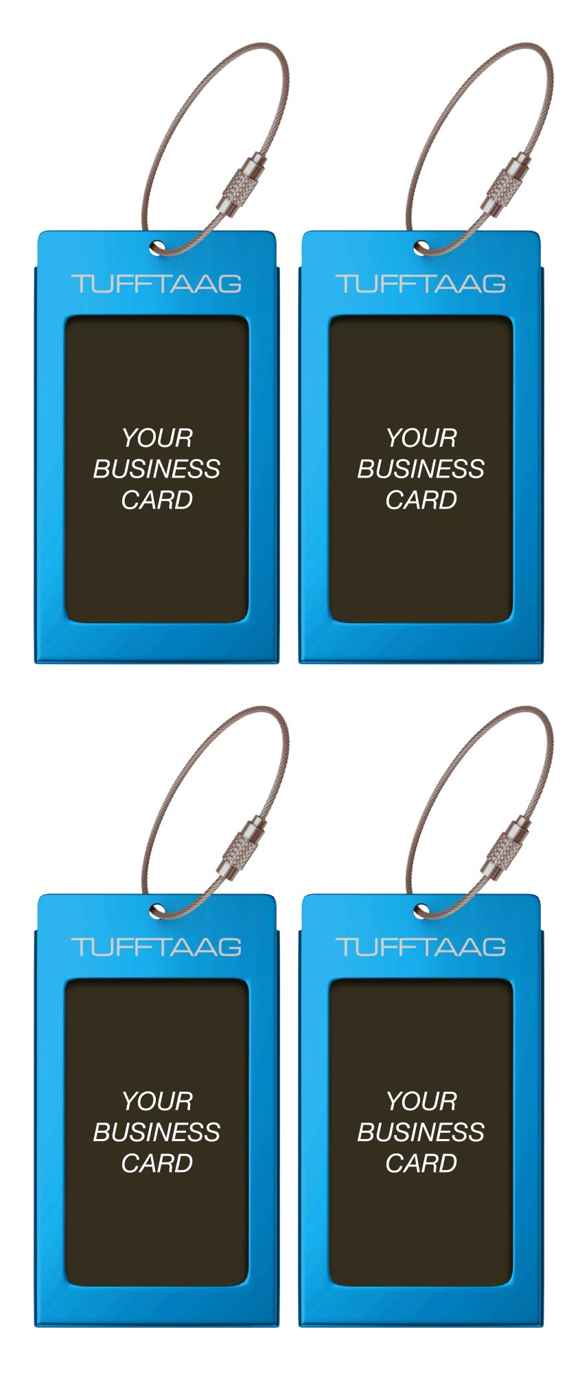 Luggage Tags TUFFTAAG for Business Cards, Metal Suitcase Labels, 4 Pack Bundle (4 Blue)