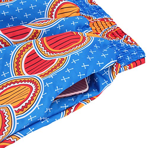Multifit Women African Print A Line Pleated High Waist Expansion Skirt Maxi Skirt Casual Long Skirt(Blue&Red) by Multifit (Image #4)