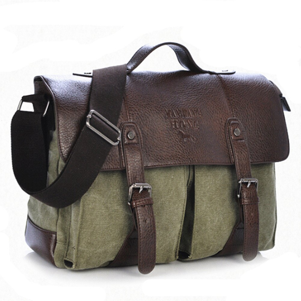 S-BBG(TM) PU Leather Canvas Briefcase Shoulder Business Laptop Messenger Bags with Card Holder