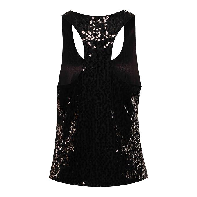 59e169756cf961 Amazon.com  Women s Disco Sequin Sleeveless Loose Tank Tops Blouse Vest   Clothing