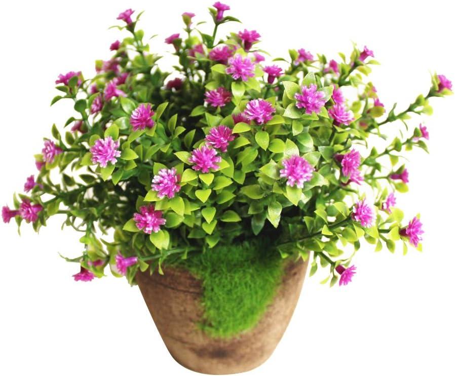 WINOMO Planta Artificial Potted Falsa Planta decorativa Bonsai Lifelike Flor (Púrpura)