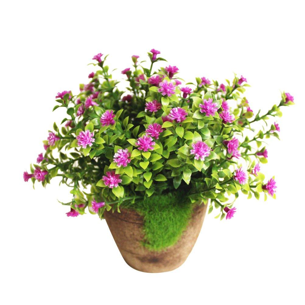 WINOMO Artificial Plant Potted Fake Plant Decorative Lifelike Flower Bonsai (Purple)