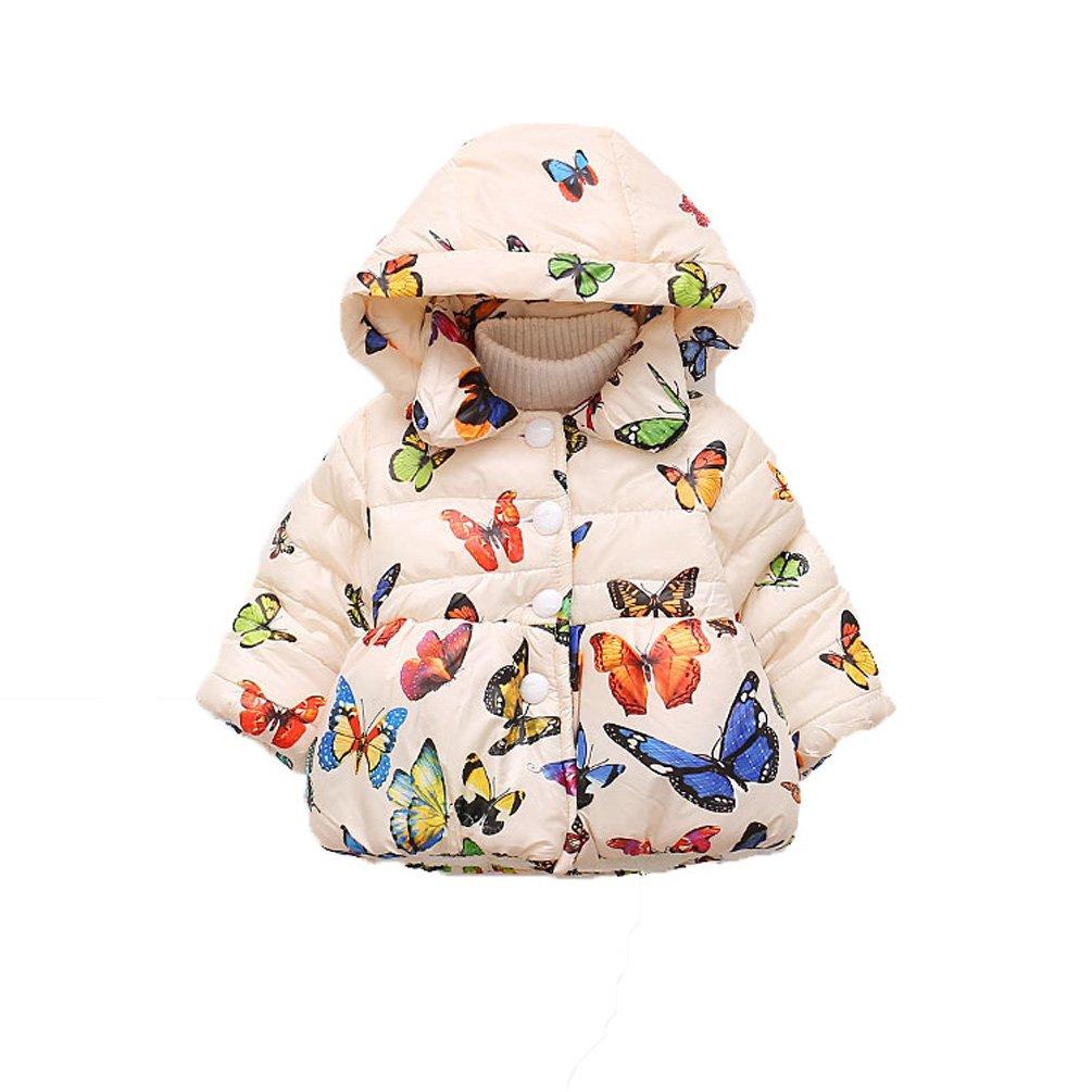AOWEER Litte Girl Butterfly Hooded Winter Faux Fur Coat Jacket Outerwear # White 110