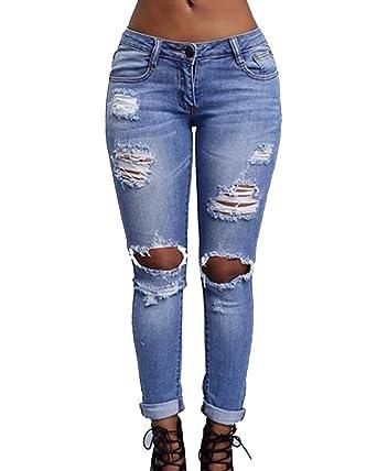 1b6194e8ade9 ShiFan Jean Boyfriend Femme Push Up Legging Troué Genoux Denim Pantalons  Elastique Bleu Clair S