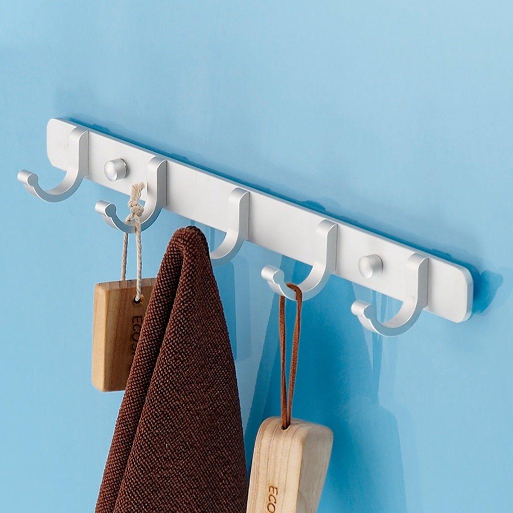 Bathroom Aluminum-magnesium Alloy Towel Rack Coat Rack Washroom Hooks ( Color : Silver , Size : 5 hooks )