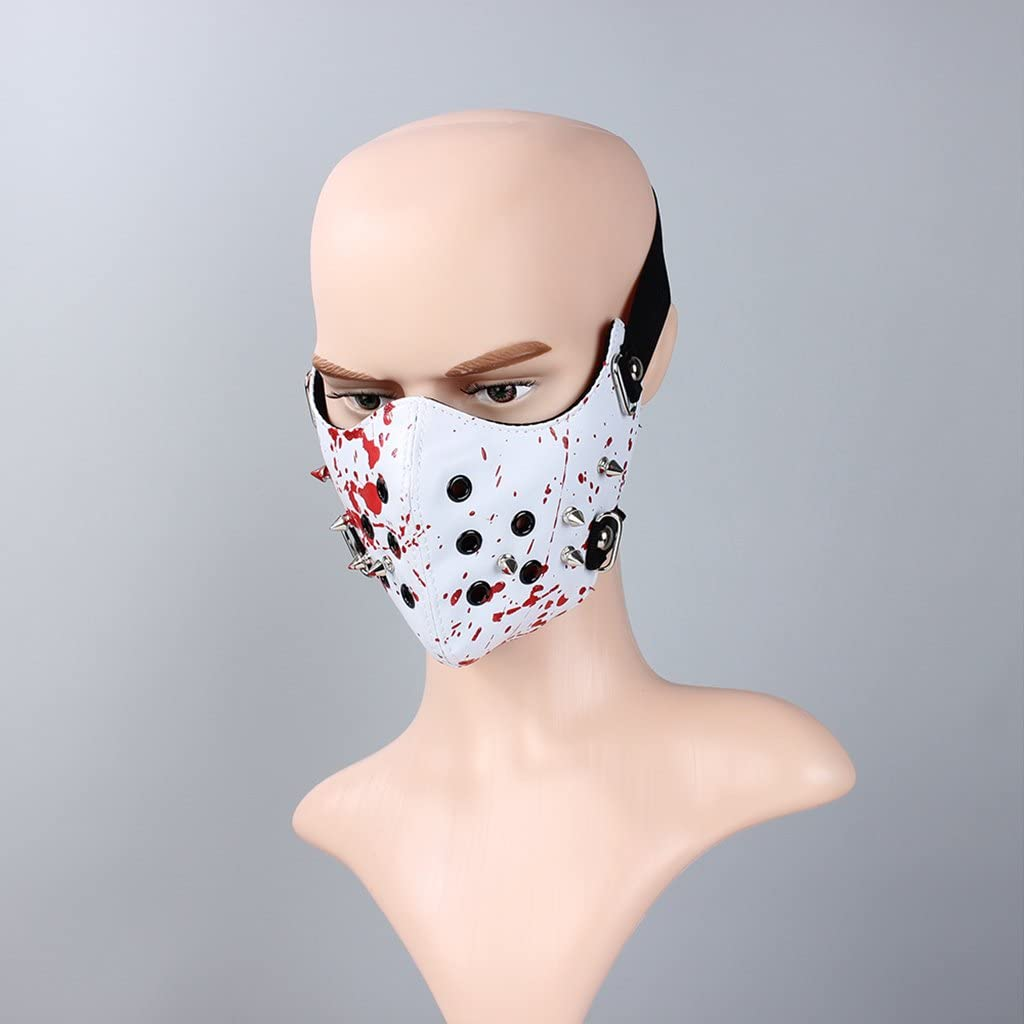 Bystar PU Leather Rivet Iron Ring Half Face Punk Cosplay Wind Protective Motorcycle Anti-Dust Mask for Men Women
