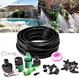32.8ft Drip Irrigation Kits, GPSGO Misting System with Garden Hose Adapter, Outdoor Misting Cooling System with 10pcs Nozzle for Garden