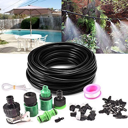 32.8ft Drip Irrigation Kits, GPSGO Misting System with Garden Hose Adapter, Outdoor Misting Cooling System with 10pcs Nozzle for Garden by GPSGO
