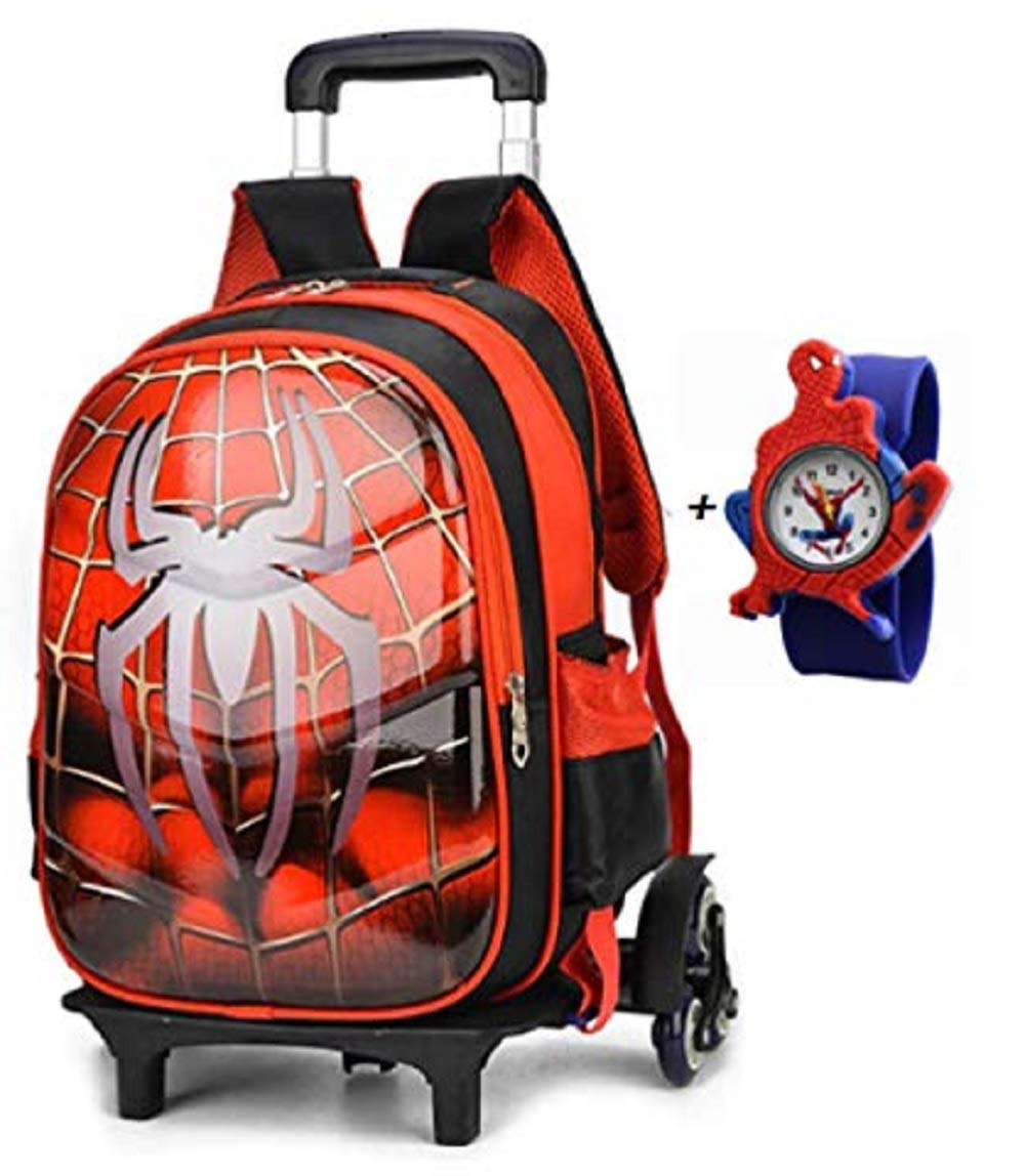 JarilnMo 16'' kids superhero carry on luggage with rolling wheels for travel or school with free kids watch by JarilnMo